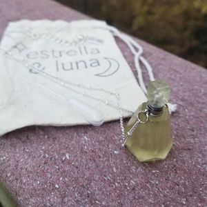 Yellow Quartz Carved Stone Bottle Silver Necklace